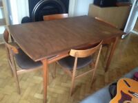 Dining table - extending. 4 chairs. G plan