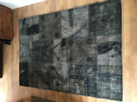 ATKIN & THYME ANATOLIA 100% Wool Patchwork Rug Dark Grey 160cm x 230cm - NEW