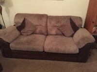 DFS 3 & 2 seater settees and footstool with storage and 4 cushions
