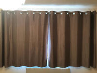 SILK LIKE SILVER/TAUPE CURTAINS WITH RAIL