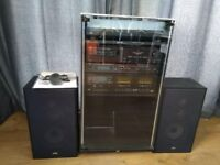 1980's JVC Stack System in Cabinet with Turntable