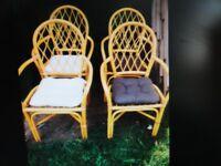 Set of 4 x Baamboo / Ratton / Wicker Chairs