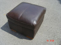 brown leather seat/footstool in leicester