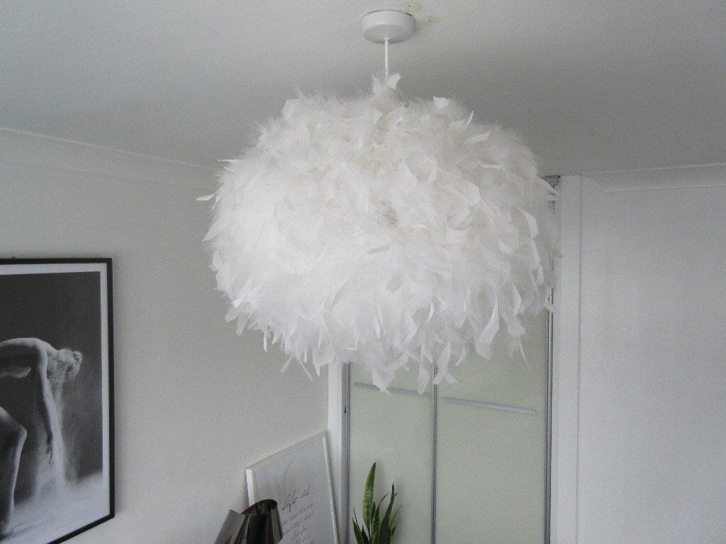 Large White Feather Ceiling Pendant Lamp Shade D 50cm