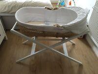 John Lewis Moses basket, stand and mattress