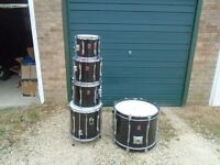 Premier Drum kit with Drum sizes are 10 12 13 and 16 toms and a 22 base