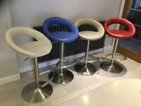 4 Padded Bar Stools with brushed steel gas lift base