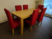 Dining set - Table and 6 Chairs - Red