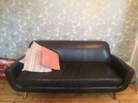 Black real leather 3 seat sofa, Danish retro style