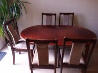 Wooden extendable dining table + 5 chairs - collection only!