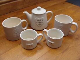 NEXT You, Me & a Cuppa Tea, Mugs & Teapot plus 2 Additional Next Mugs
