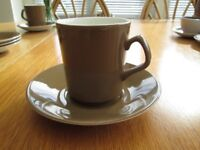 BESWICK pottery, (England) brown/white 3 x coffee cups & saucers (plus 3 spare saucers)