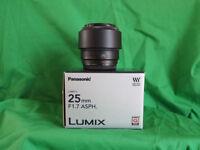 Panasonic 25mm F1.7 lens for m4/3 digital cameras
