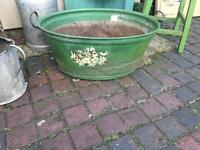 Small tin bath plant pot vintage planter