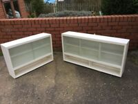 Two vintage kitchen wall cupboards