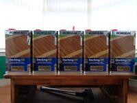 5 tins ronseal decking oil natural oak 5 litre tins