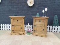 CORONA PINE PAIR OF BEDSIDE CABINETS VERY SOLID SET AND IT'S IN EXCELLENT CONDITION 53/39/67 cm £50