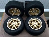 """Minilite Gold Highlight Wheel 7x13"""" x 4 With Tyres"""