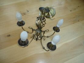 5 Arm Barley Twist Classic Ceiling Light Fitting Pendant Chandelier Brass Gold With Bulbs