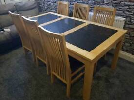 Harveys granite solid beech dining table and 6 chairs