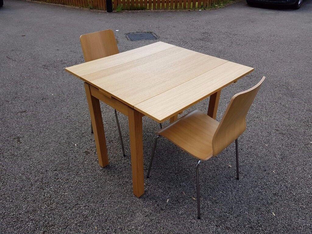 Ikea Bjursta 50-90cm Oak Veneer Exending Table & 2 Chairs FREE DELIVERY 030