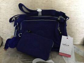 KIPLING SHOULDER BAG / DUO set with purse - New with packaging. Flash Blue colour