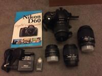 Nikon D D60 10.2 MP digital SLR camera with 4 lenses + extras