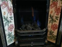 Victorian style cast and tile fire with complete gas inlay little used so good condition