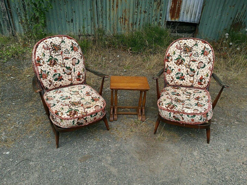 Pair of Ercol spindle back chairs mid century in Hereford