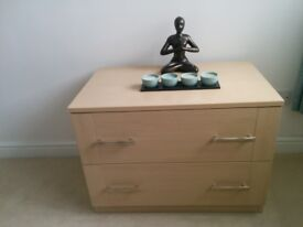 quality furniture. Bedside cabinet & 2 drawer chest in maple effect finish 2 drawer chest cost £199