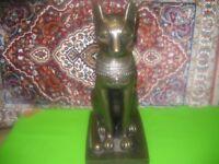 Antique Vintage Egypt Bronze large Cat Figurine Statue