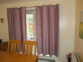 Chenille Eyelet Curtains. Two Pairs. Dusky Pink. £12 per pair.