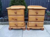 Pine Bedside draws bun feet solid and sturdy shabby chic