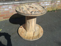 Chunky Wooden Reclaimed Cable Reel/Drum,Table, 54cm x 52cm Upcycled