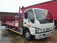 2008-08 isuzu nqr 75- 190 fitted 16ft shawtrack beavertail and winch fliptoe ramps plus vat