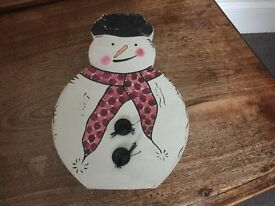 A Vintage Christmas Box in the shape of a Snowman