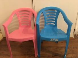 2 children's chairs, 1 blue, 1 pink - for sale, £2 each