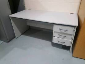 Desk / Table - Quality Light Grey Coloured 3 Drawer Office Desk / Table