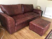 Large Leather Sofa + Pouffe