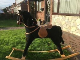 Large Black Rocking Horse in Good Condition.