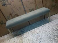 long narrow linen upholstered bench on vintage painted legs end of bed / hallway