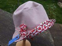 Ladies sun hat, unique designs, handmade in cotton. reversible