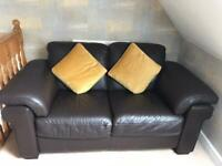 Brown leather two seater sofa (soft grain leather)