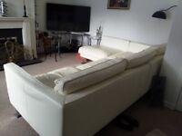 White Leather Large Sofa