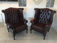 STUNNING PAIR OF OXBLOOD CHESTERFIELD QUEEN ANNE CHAIRS
