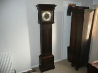 Antique Oak Westminster Chime Grandfather Clock, Barley Twist