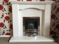 Gas fire with marble surround