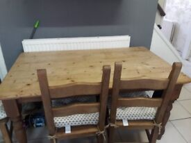 Solid Pine Large table and 4 Chairs