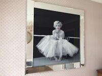 Marilyn Monroe artwork - large bevilled mirror edging