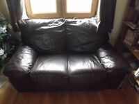 MUST GO SOON - Dark Brown Leather 2-seater Sofas